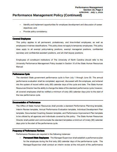 performance management policy template