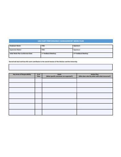 performance management work plan sample