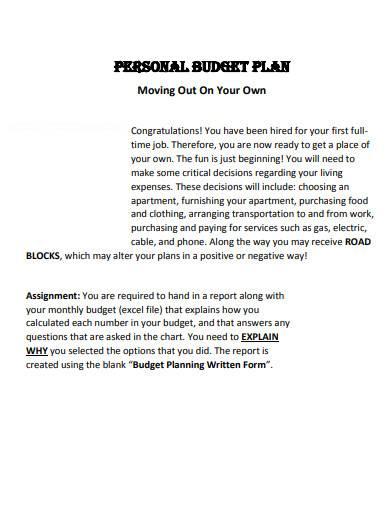 personal budget plan sample