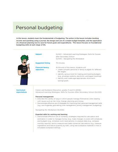 personal budgeting sample