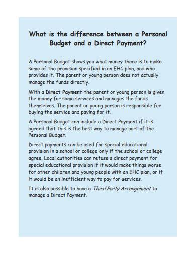 personal budgets for educational needs sample