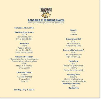 pleasant wedding itinerary handout sample