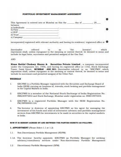 portfolio investment management agreement