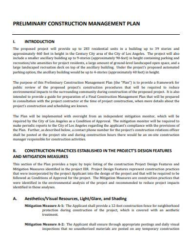 preliminary construction management plan