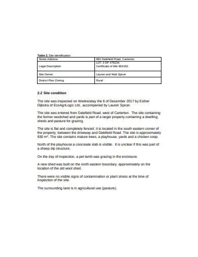 preliminary site investigation report template