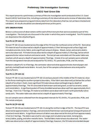 preliminary site investigation summary template
