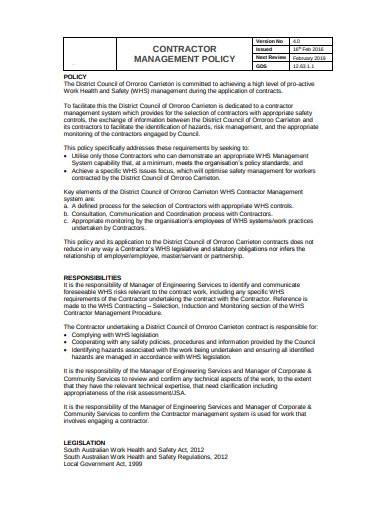 printable contractor management policy sample