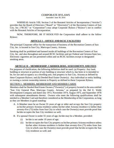 printable corporate bylaws