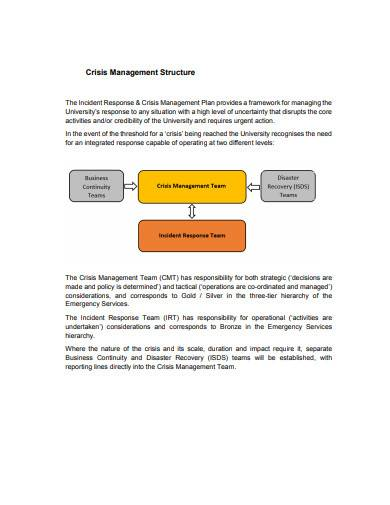 printable crisis management plan sample