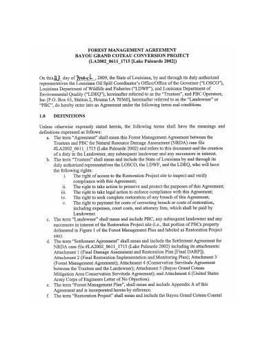 printable forest management agreement sample