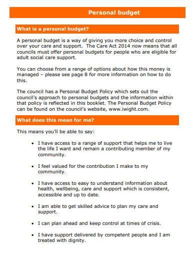 printable personal budget sample