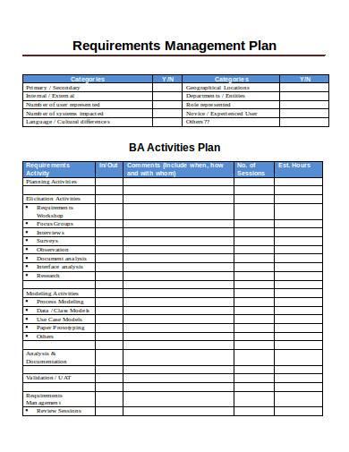 printable requirements management plan
