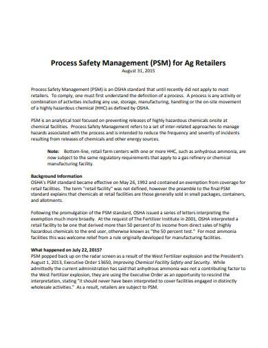 process safety management for retailers