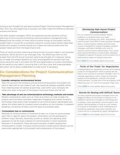 project communication management planning