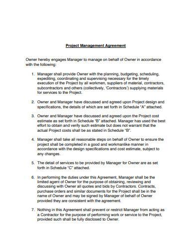 project management agreement sample