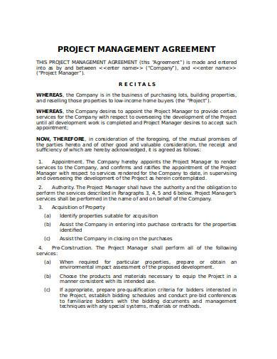project management agreement in doc