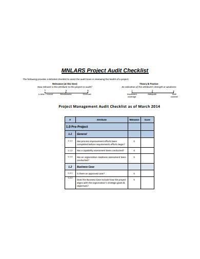 project management audit checklist sample