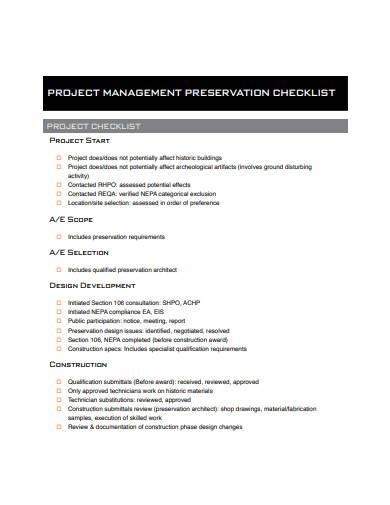 project management preservation checklist sample
