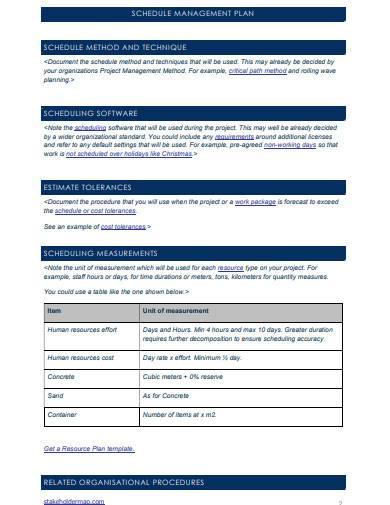 project schedule management plan sample