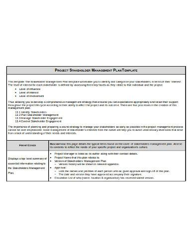 project stakeholder management plan