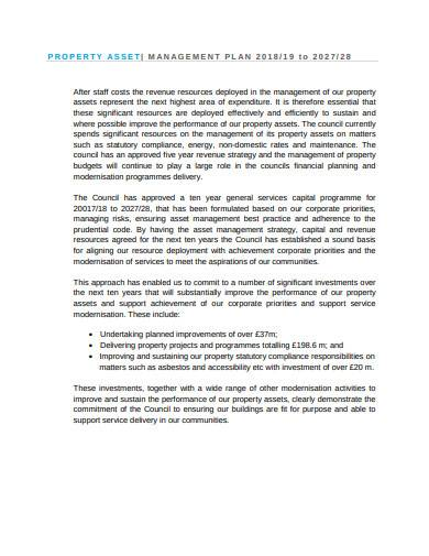 property asset management plan sample