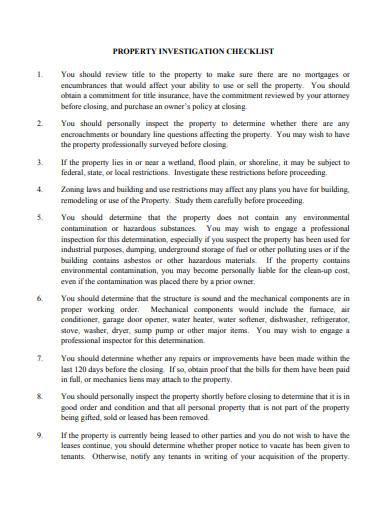 property investigation checklist