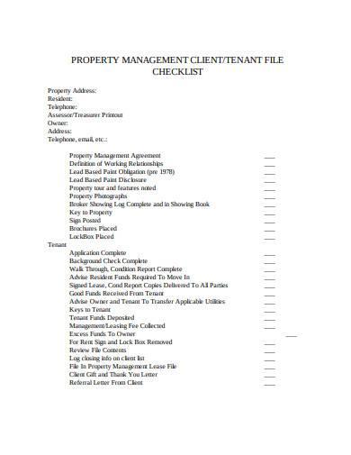 property management client checklist