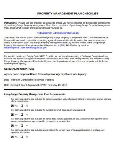 property management plan checklist