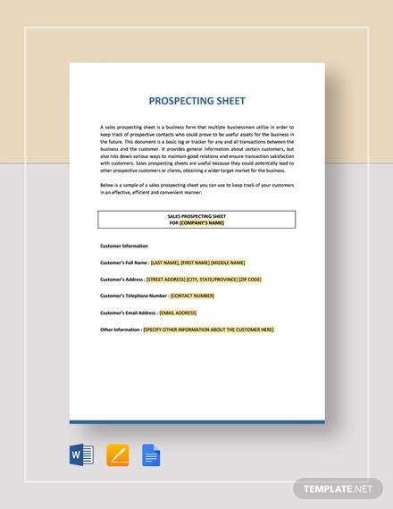 prospecting sheet template