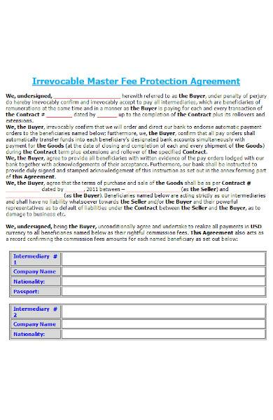 protection agreement in ms word