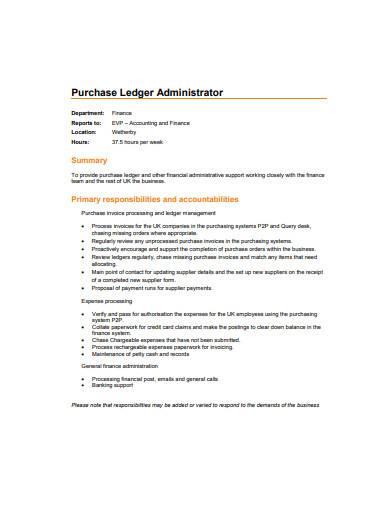 purchase ledger administrator sample
