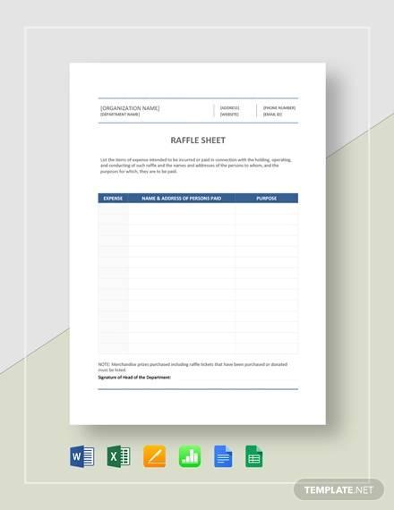 raffle sheet template