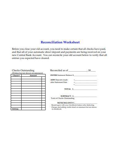 reconciliation worksheet