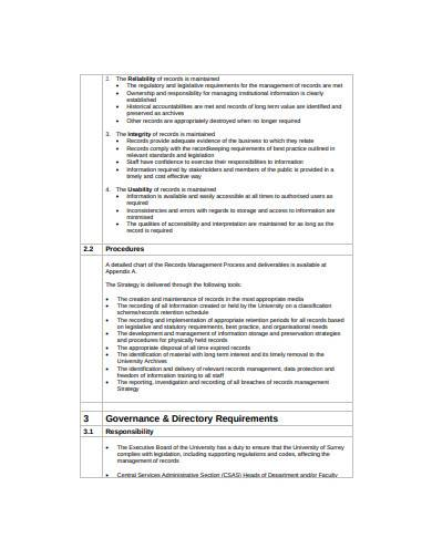 records management strategy example