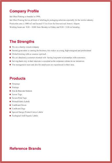 red company profile sample for family run business