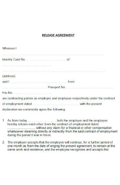 release agreement in ms word