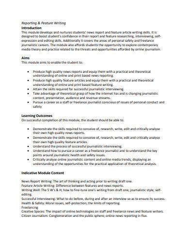reporting and feature writing template