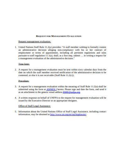 request for management evaluation