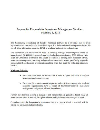 request for proposals for investment management services
