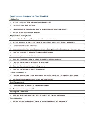 requirements management plan checklist
