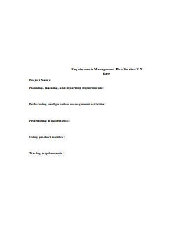 requirements management plan version