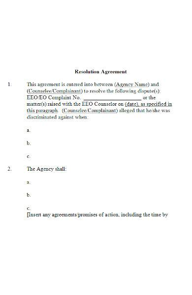 resolution agreement in ms word
