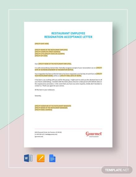 restaurant employee resignation acceptance letter template