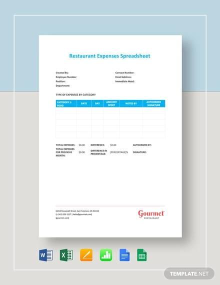 restaurant expenses spreadsheet template