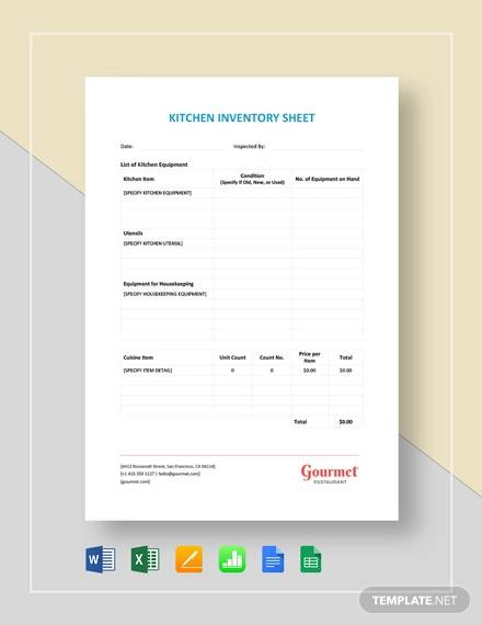 restaurant kitchen inventory sheet template