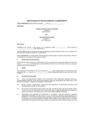 restaurant management agreement sample