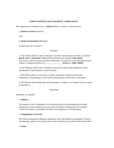 restaurant management agreement in doc