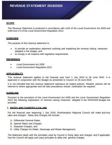 revenue statement sample