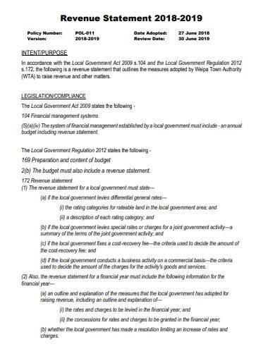 revenue statement in pdf