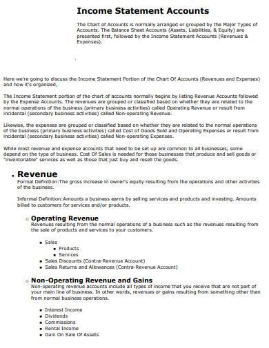 revenue on income statement sample